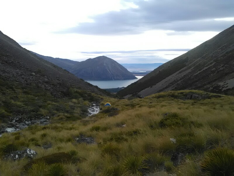 Looking back at Lake Ohau - note that tent ;)