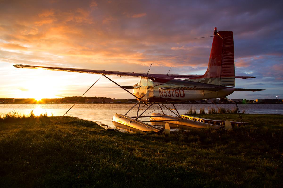 Basking in the last rays of sun, Lake Hood, Alaska, USA