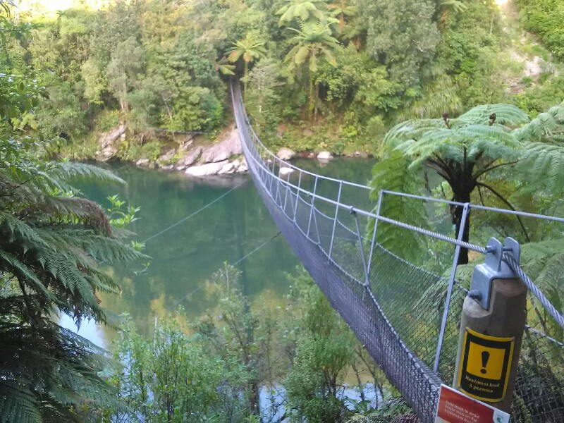 What a cool swing bridge just before Parawai Lodge