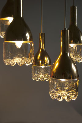 60s hanging Lamp glass and brass for Hillebrand Leuchten