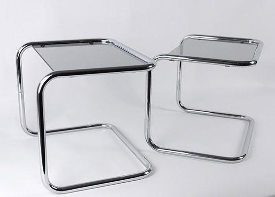1970s Stahlrohr/Glas Beistell Tische