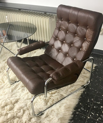Ledersessel 60er Jahre, Lounge Leder Sessel, Clubchair 60s,