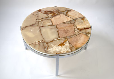 Round Onyx Coffee Table 1960s