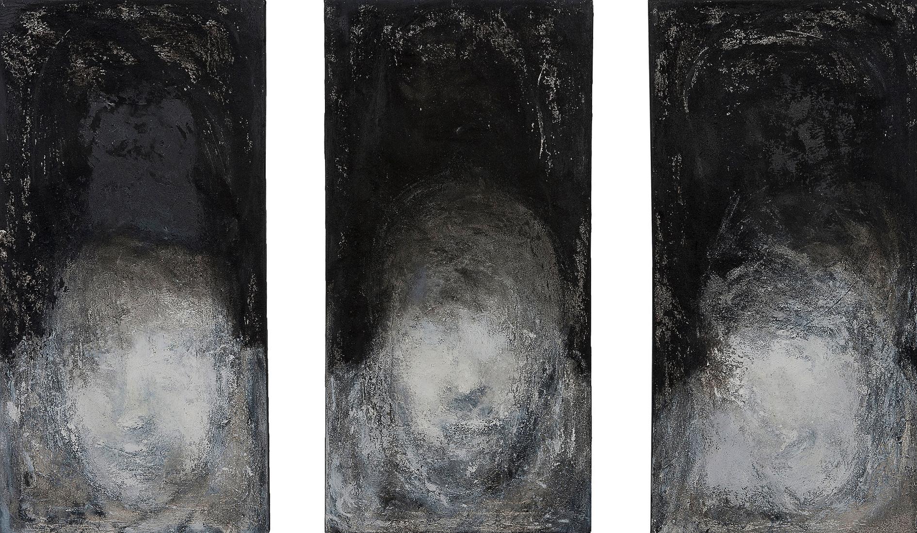 Die Gesichtslosen, 2000, Mischtechnik auf Leinwand, 100 x 50 cm