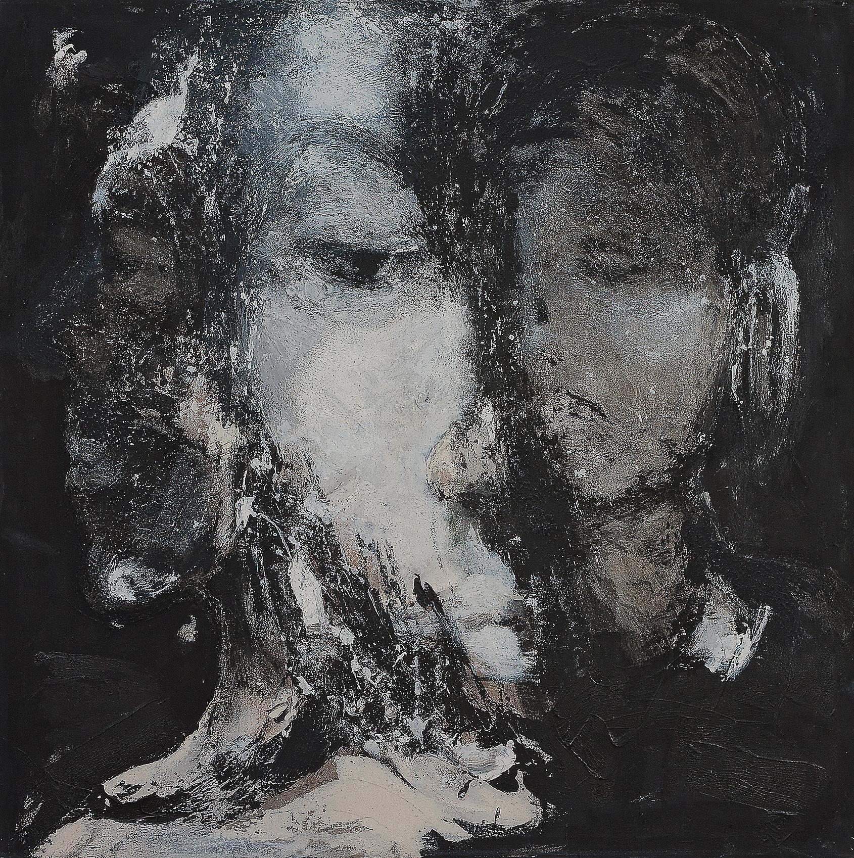 o. T., 2003, Mischtechnik auf Leinwand, 140 x 140 cm