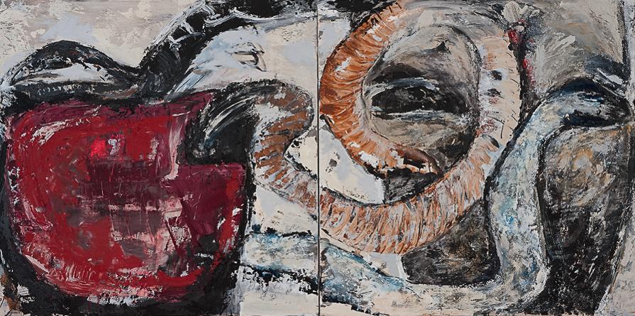 O.T., 2014, Mischtechnik auf Leinwand, 160 x 320 cm