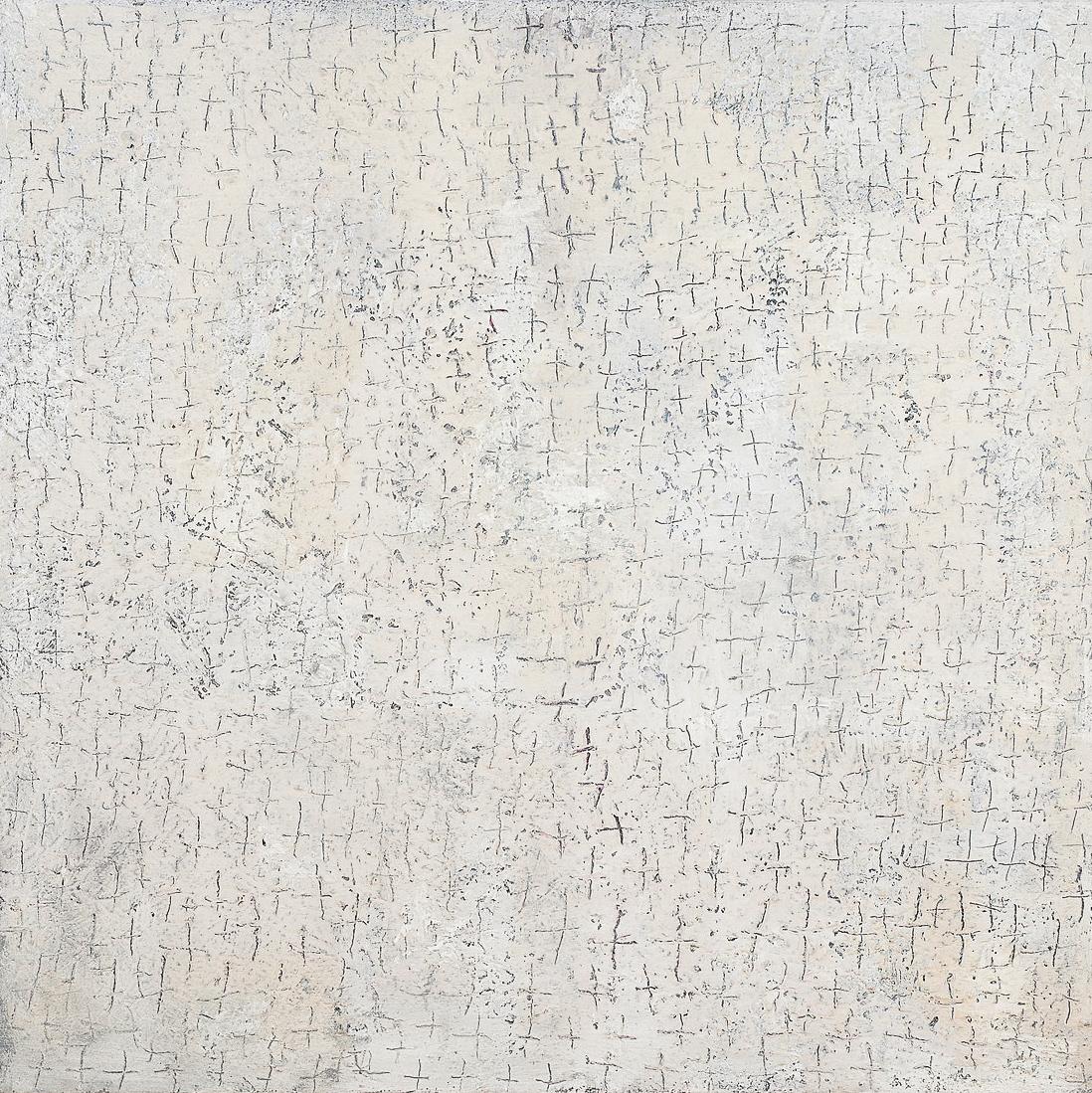 O. T., 2004, Mischtechnik auf Leinwand, 140 x 140 cm