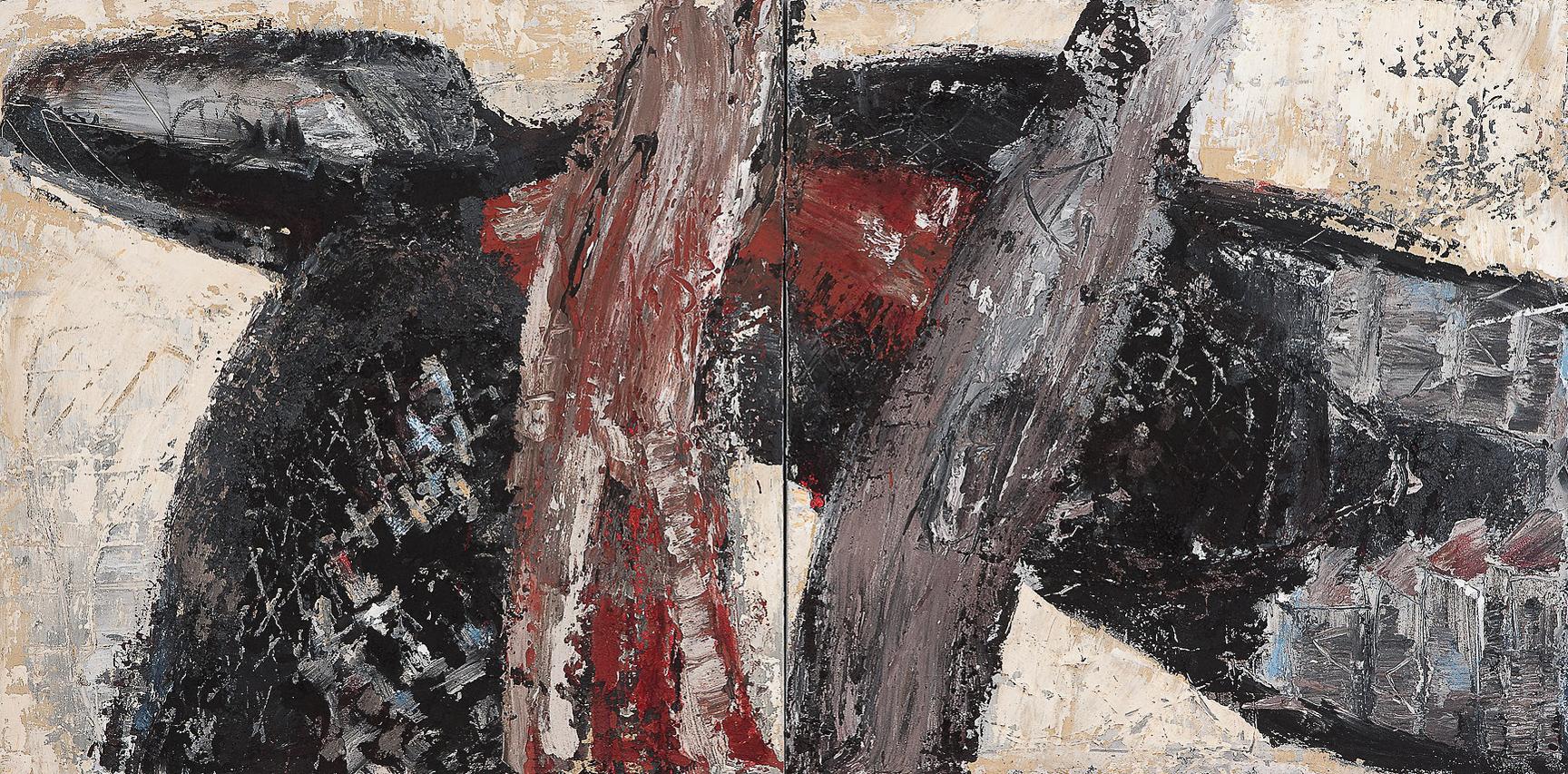 O.T., 2013, Mischtechnik auf Leinwand, 120 x 240 cm