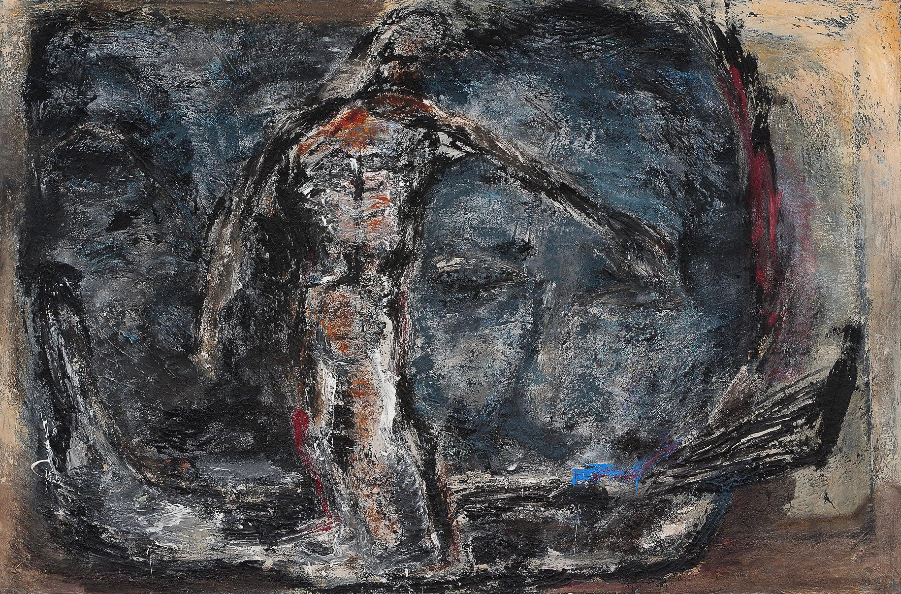 Fährmann, 2005, Mischtechnik auf Leinwand, 200 x 300 cm