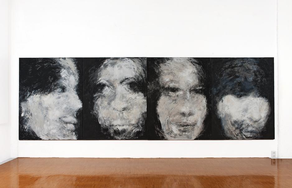 2 x o.T., 2005, Mischtechnik auf Leinwand, jeweils 180 x 140 cm