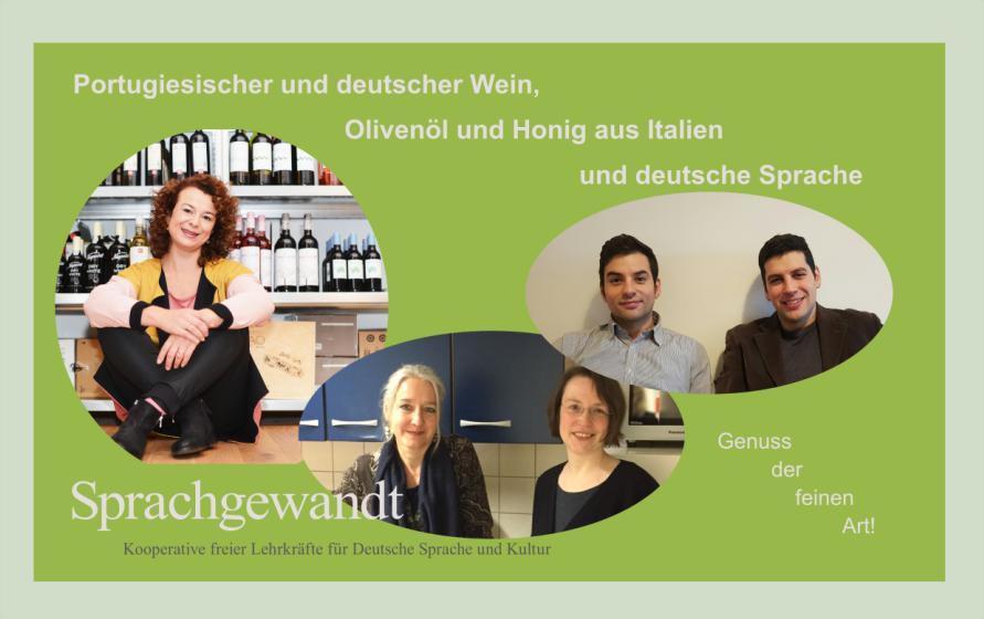 Portugiesischer Wein, italienisches Olivenöl und Honig und deutsche Sprache / Portuguese wine, Italian olive oil and honey and German language