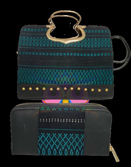 Leder Damentasche und Geldbeutel mit Stickerei