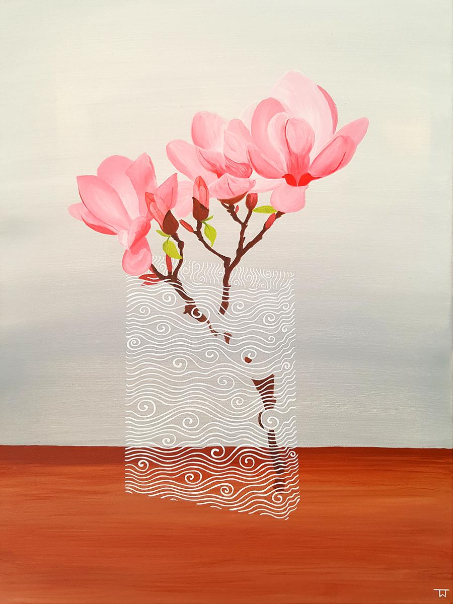 Magnolien in Glasvase | Tina Wahren | Acryl auf Leinen