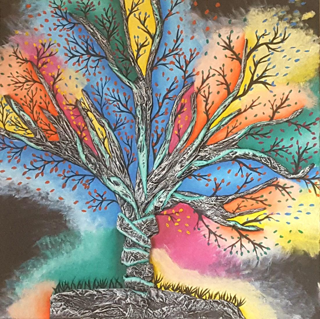 Twisted Tree | Manuela Mast | Brotpapier und Acryl auf Leinen