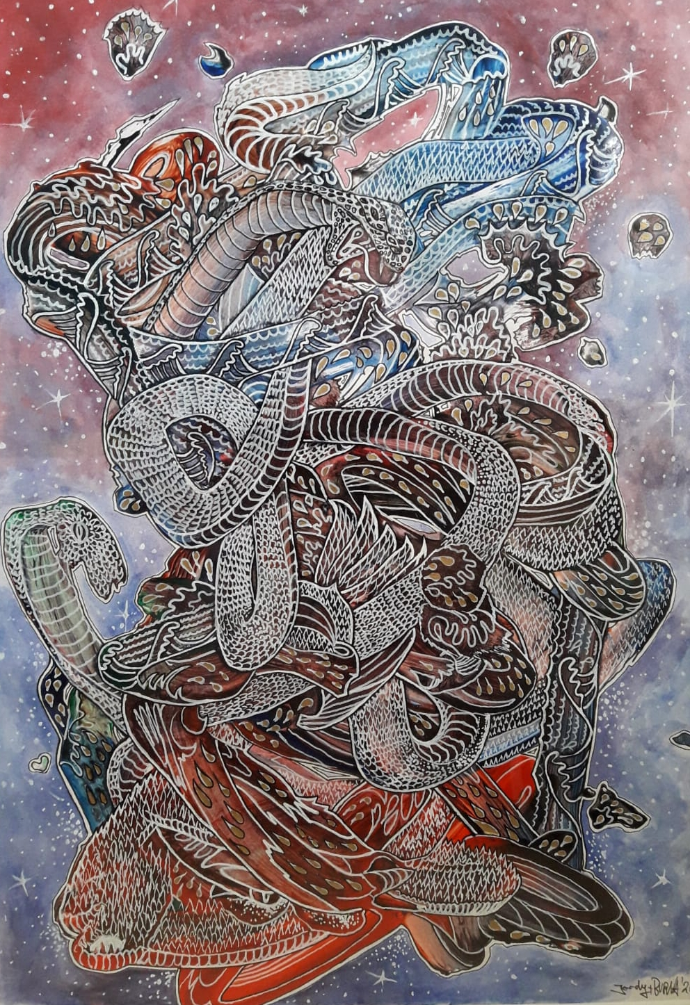 Koi im Schlangennest | Björn Lühmann | Aquarell & Lack au Papier
