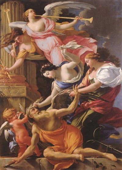 愛と美と希望に征服される「時の翁クロノス」・右手に大鎌を持っている