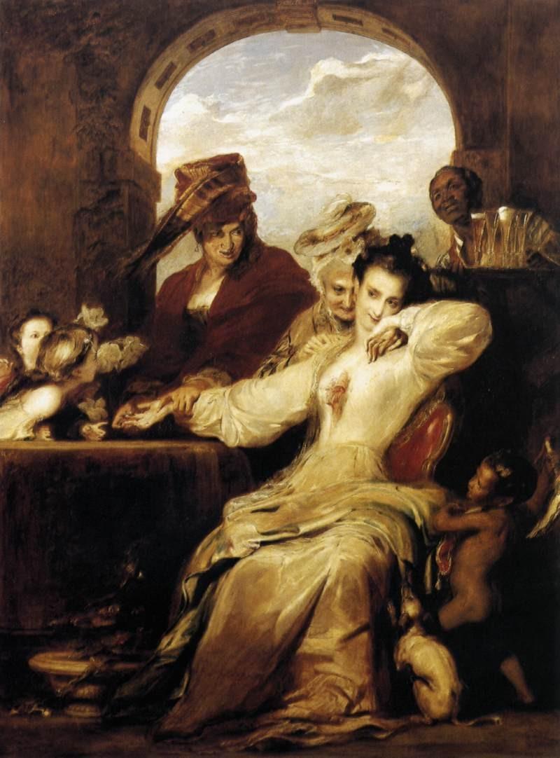 マドモアゼル ルノルマンは、もう一人の女性とともにサロンで占いをしていました。彼女は、ルノルマンの没後、ルノルマンの暴露本を書き、それが原因でルノルマンの名声に、汚点が付けられてしまうと言ったことも起こりました。この絵は、ずるがしこそうな占い師ルノルマンとみえる女性とその友人がジョセフィーヌをたぶらかしているように見えるシーンを描いているように見えます。