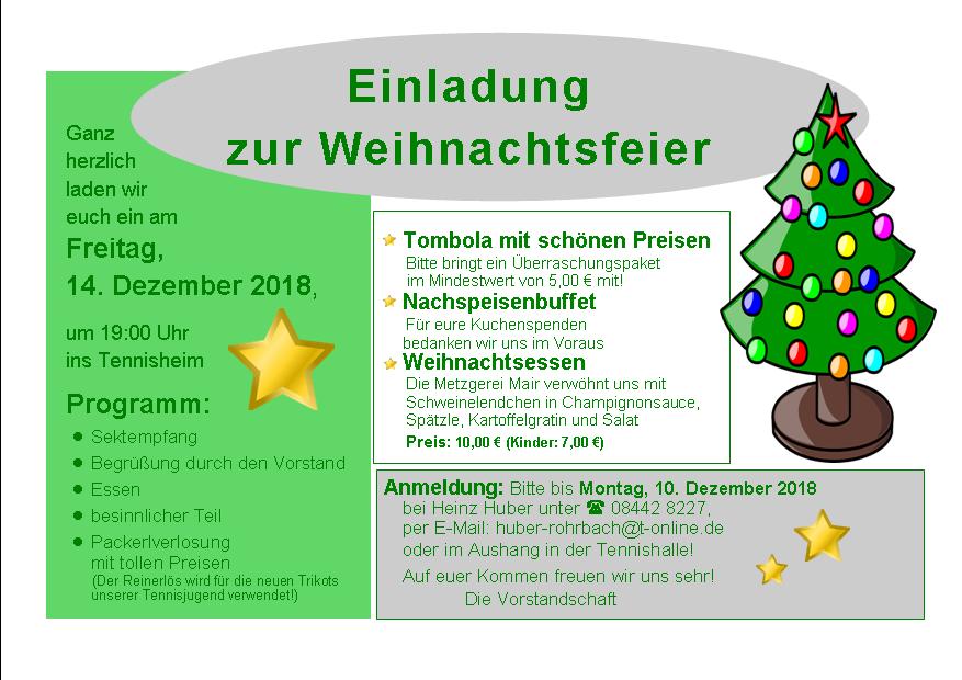 Weihnachtsfeier Begrüßung.Weihnachtsfeier 2018 Tsv Rohrbach Tennis