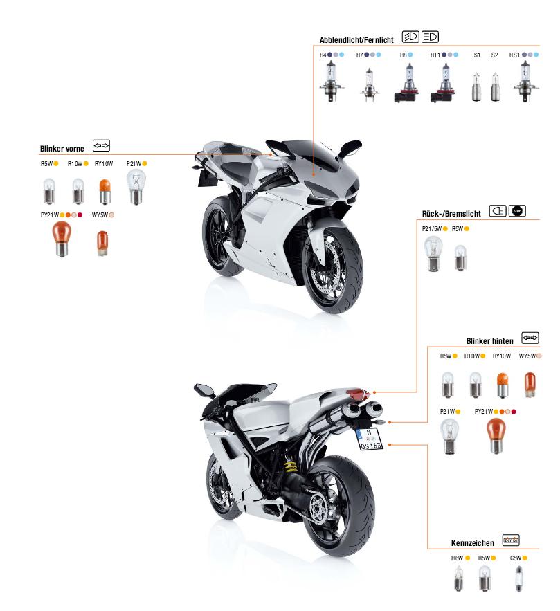 Motorrad Fahrzeug-Lampen Typen Osram Sockel Töff