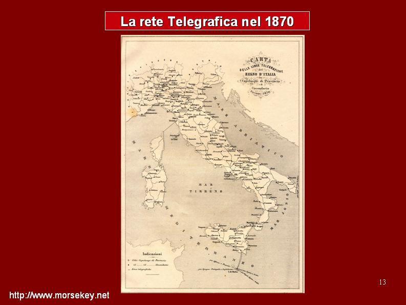 Mappa delle linee telegrafiche d'Italia, anno 1870.