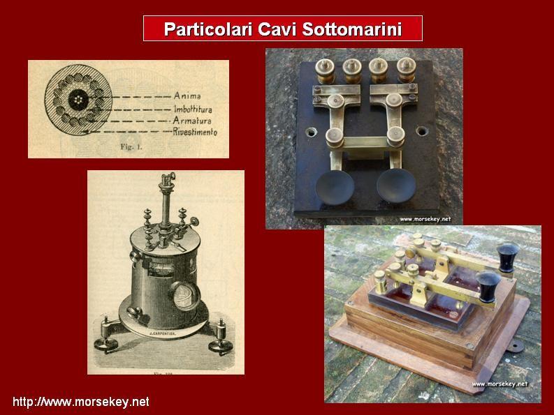 Particolari, apparecchiature, tasti e cavi della telegrafia sub-marina.