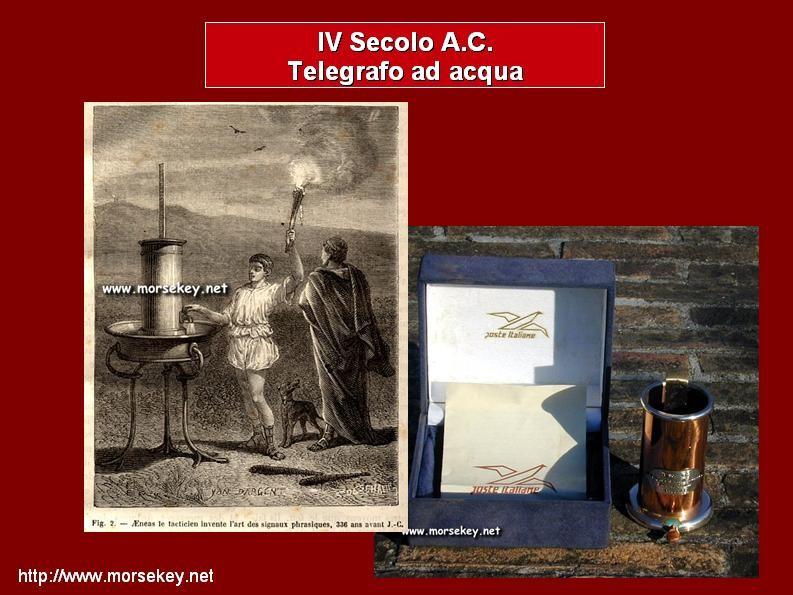 Rapresentazione del telegrafo di Erode Attico 336 ac, al fianco una riproduzione delle P.T.