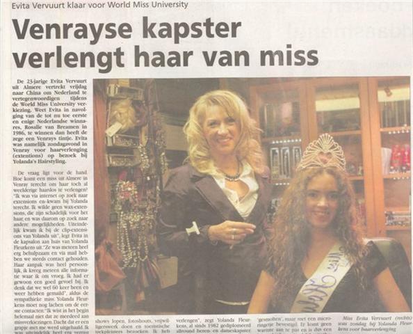 Miss University voor een haarverlenging met microring extensions bij Yolanda Hairstyling Venray
