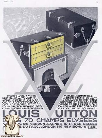 coffre a valise Louis Vuitton automobile ancienne