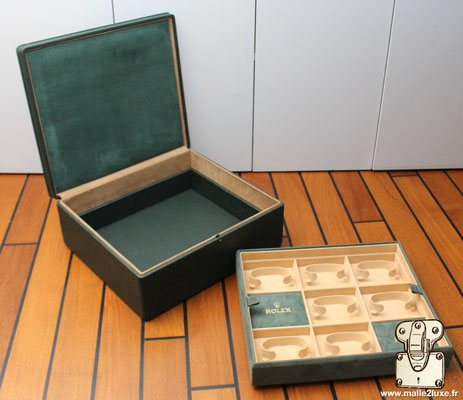 Rolex watch box with leather and goat velvet cover