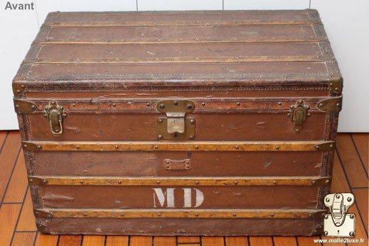 painted Louis Vuitton courier trunk