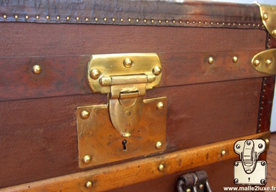 Moynat brown coated canvas cabin trunk