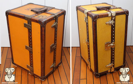 62 / 5000 Résultats de traduction before after restoration in our workshops of a luxury trunk
