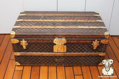 Malle cabine Louis Vuitton damier bordure cuir
