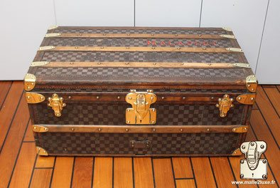 Malle cabine Louis Vuitton damier bordure cuir