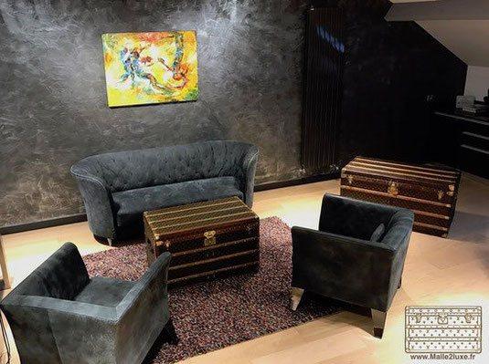 Malle courrier table basse salon