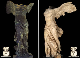 Restoration of the statue of The Winged Victory of Samothrace - circa 190 BC.  Louvre Museum