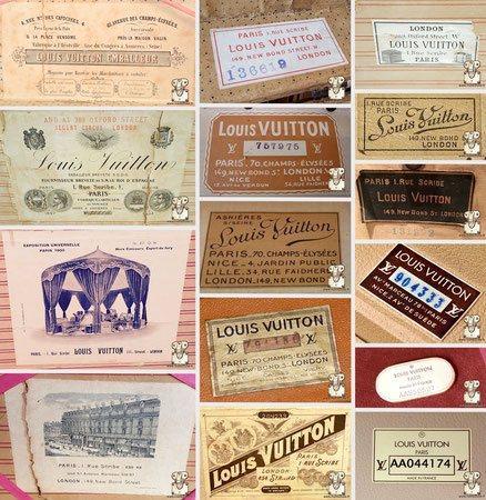 Etiquette intérieur malle Louis vuitton et valise ancienne et moderne