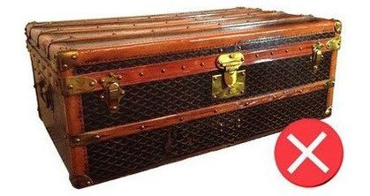 example of a varnished Goyard trunk canvas