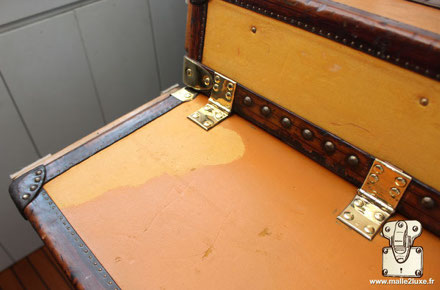 before after restoration in our workshops of a luxury trunk