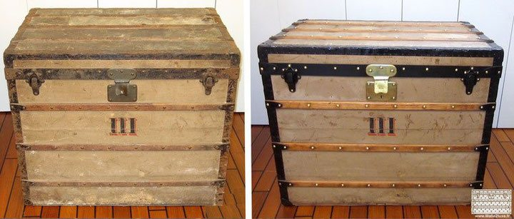 restauration toiles pochoirs ancienne trunk malle louis vuitton. Black Bedroom Furniture Sets. Home Design Ideas