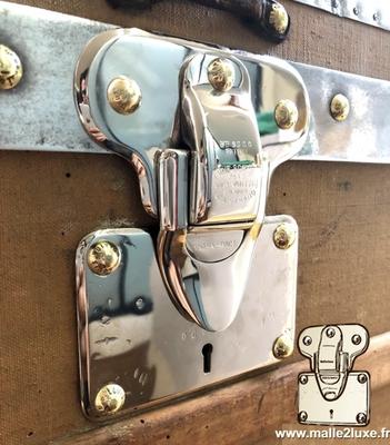 serrure de malle ancienne louis vuitton en laiton et aluminium plaqué nickel