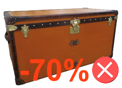 repainted Louis Vuitton canvas trunk orange