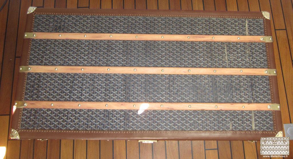 dessus bois malle cabine ancienne
