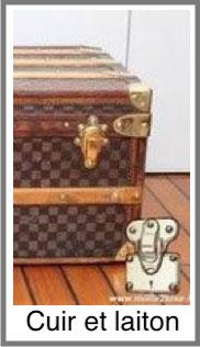 Malle Louis Vuitton cuir et laiton