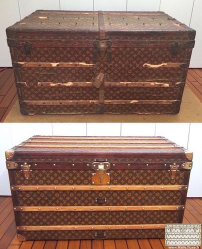 restauration bois bagage ancien goyard malle louis vuitton. Black Bedroom Furniture Sets. Home Design Ideas