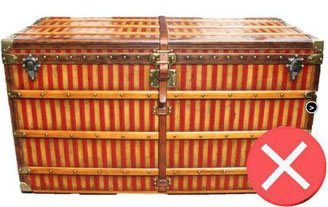Example of a partially repainted striped Louis Vuitton trunk.