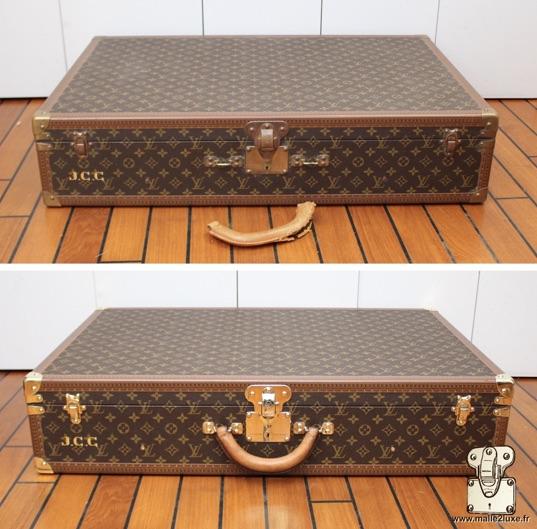 Valise Louis Vuitton Alzer 80 poignée en cuir cassé réparé par Malle2Luxe