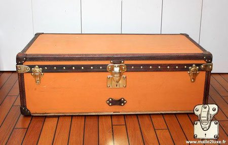 Malle cabine louis vuitton vuittonite orange bordure cuir