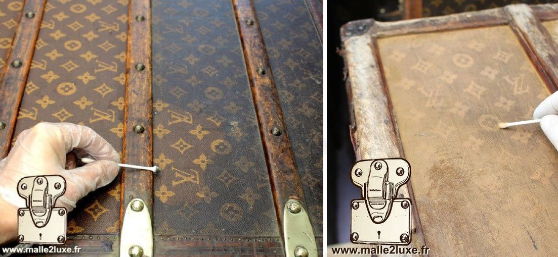 Restauration d'un toile Vuittonite orange malle vuitton 1910 simple nettoyage