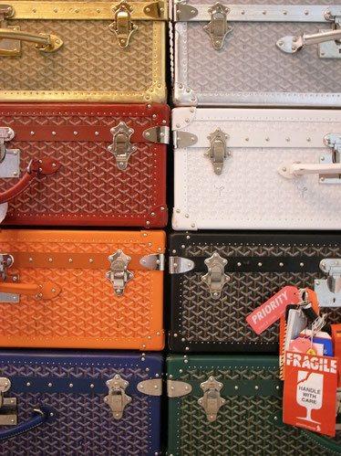 toile Goyard de malle et de valise multicolore toile a chevron trunk